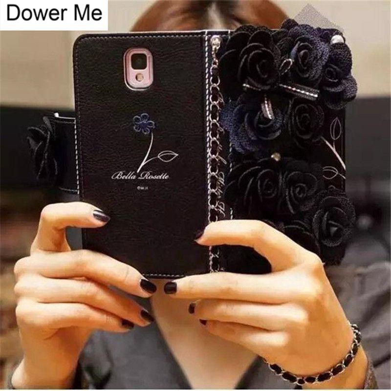 Noir Rose tissu fleur Rose Flip portefeuille en cuir étui pour iphone 11 Pro XS Max XR X 8 7 6S Plus Samsung Note 10 9 8 S10/9/8 Plus