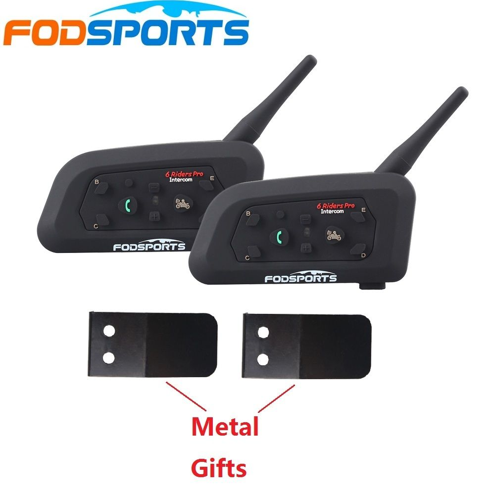 2 pcs 2018 Mise À Jour V6 Pro Moto Casque Bluetooth Interphone 850 mAh Batterie 6 coureurs Casque Moto BT Interphone + Tôle
