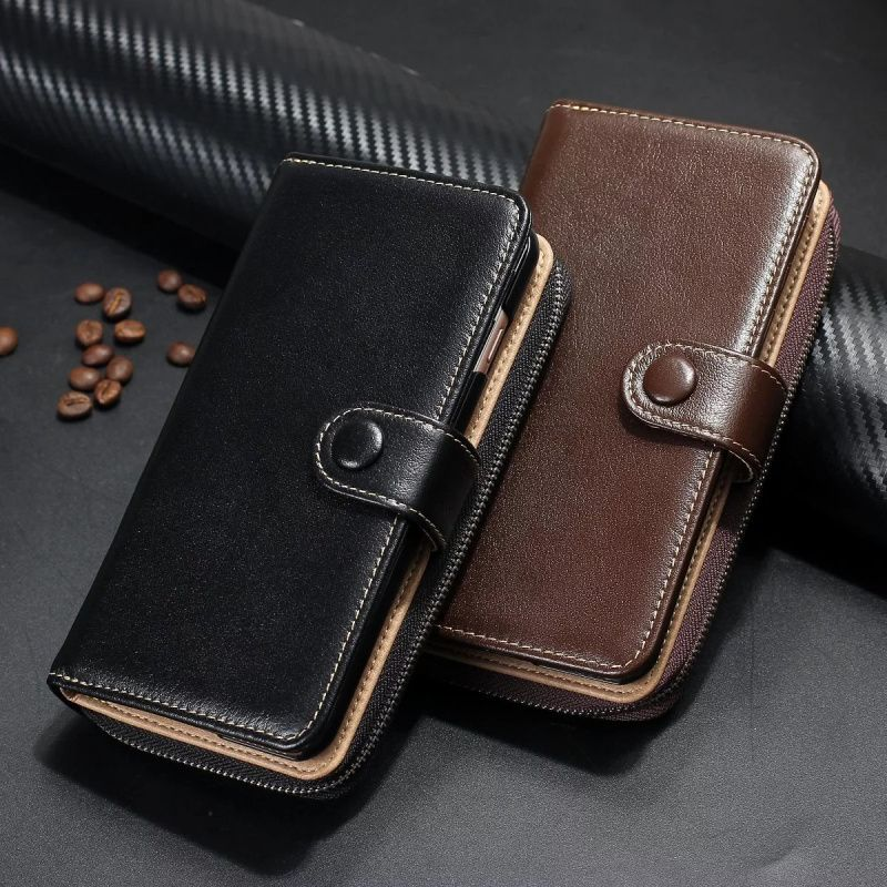 Luxury Zipper 100% genuine leather Handbag Wallet Phone Case for iPhone 7 6 6s Plus Flip Cover purse Phone Bags case 4.7 5.5