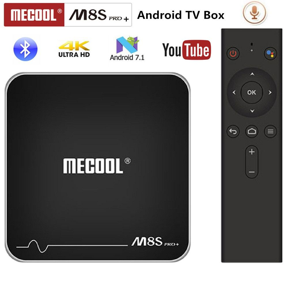 MECOOL M8S PRO+ Android TV OS TV Box 4K Voice Remote Control Amlogic S905W Android 7.1 2GB 16GB WiFi 100Mbps BT4.2 PK x96mini