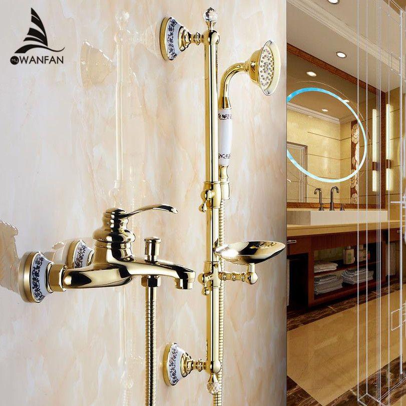 Shower Faucets Wall Mounted Bath Shower Sets Bathroom Golden Brass Bath Shower Faucet with Slide Bar Handheld Soap Dish 9107G