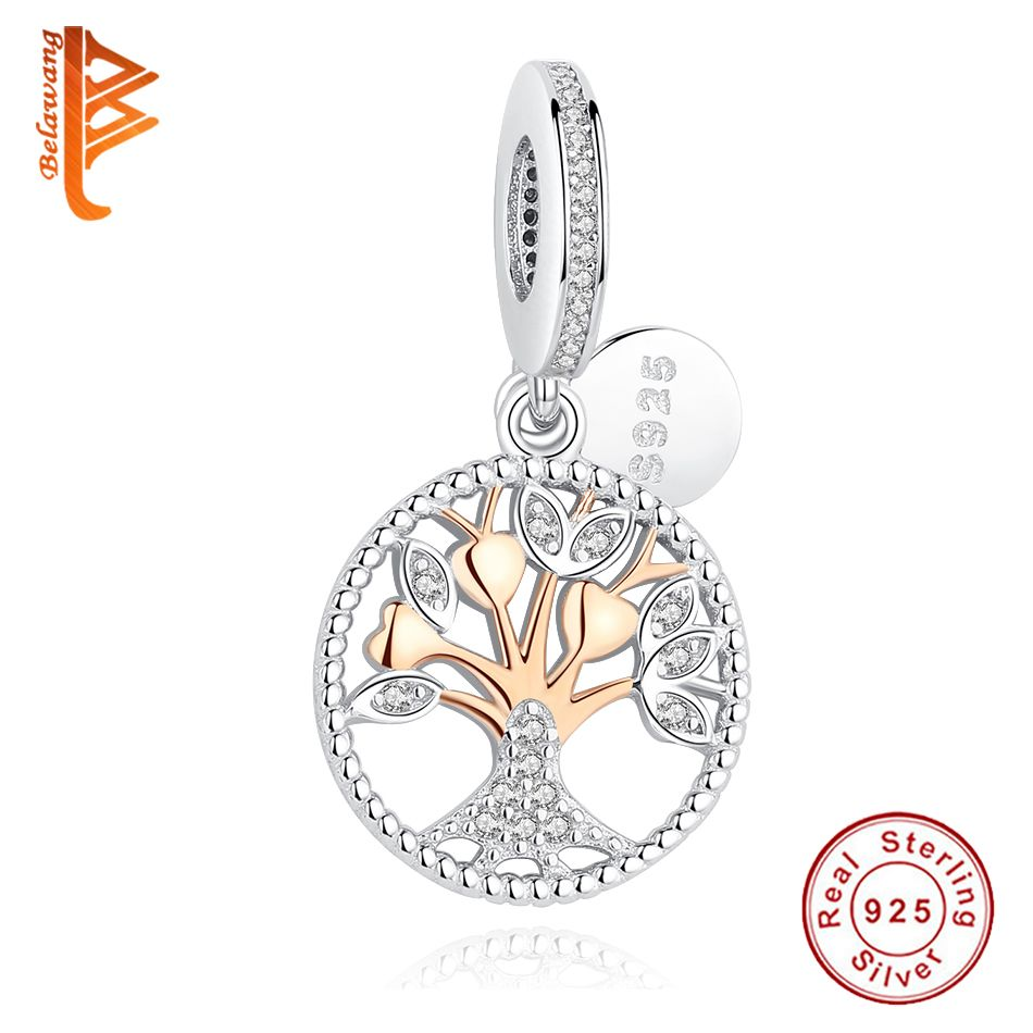 2018 New Authentic Rose Gold Family Tree Silver Dangle Charms Beads Fit Original Pandora Bracelets 925 Sterling Silver Jewelry