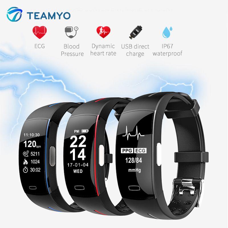 Teamyo Smart bracelet Blood Pressure ECG+PPG Sport Pedometer Cicret Fitness Watch Smart band Activity tracker Smart wristband