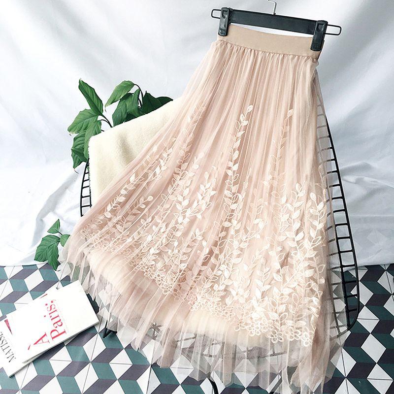 Broderie florale a-ligne Tutu dentelle maille jupe femmes élégant Tulle longue plissée jupe femmes Midi jupe été offre spéciale