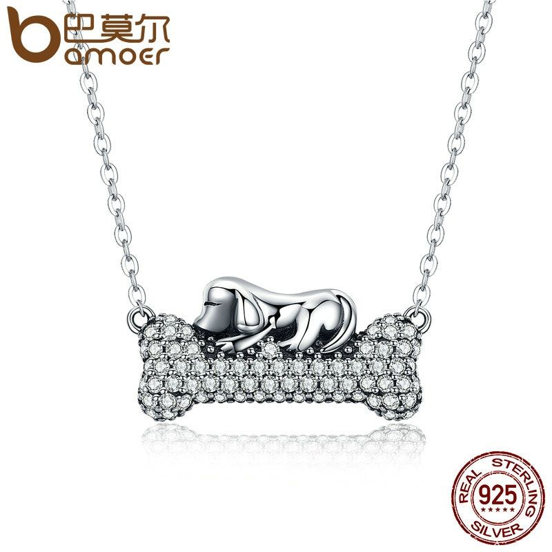 BAMOER Authentic 925 Sterling Silver Dog Doggy's Dream with Bone Pendant Necklaces Women Clear CZ Fine Jewelry Brincos SCN092