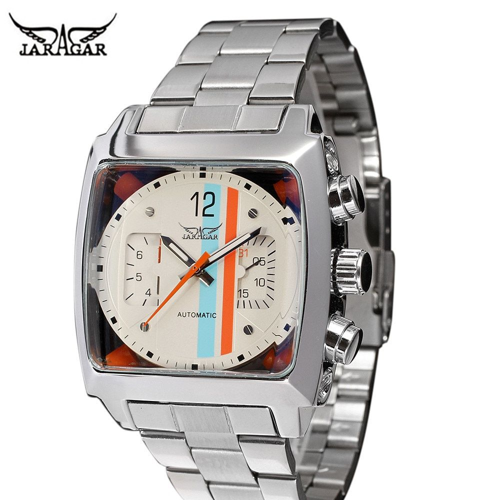 JARAGAR Stainless Steel Square Transparent Case Back High Quality Auto Movement Men's Mechanical Watch Male Wristwatch Relogio