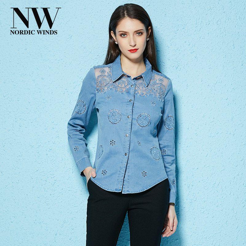 Frühling Sommer 2018 Frauen Schnüren Jeanshemd Bluse Mode Jean Blusen Hellblau Baumwolle Mit Langen Ärmeln Plus Größe Frauen Kleidung