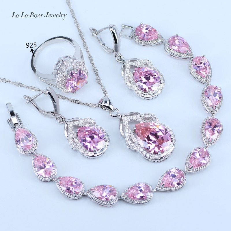 L&B One Set Luxurious Wedding PINK Crystal 925 Silver Color Jewelry Sets For Women Bracelet/Pendant/Necklace/Earrings/Ring