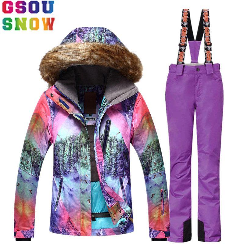 Marke GSOU SCHNEE Skianzug Frauen Skijacke Hosen Wasserdicht Mountain Ski Anzug Snowboard Sets Winter Outdoor-bekleidung