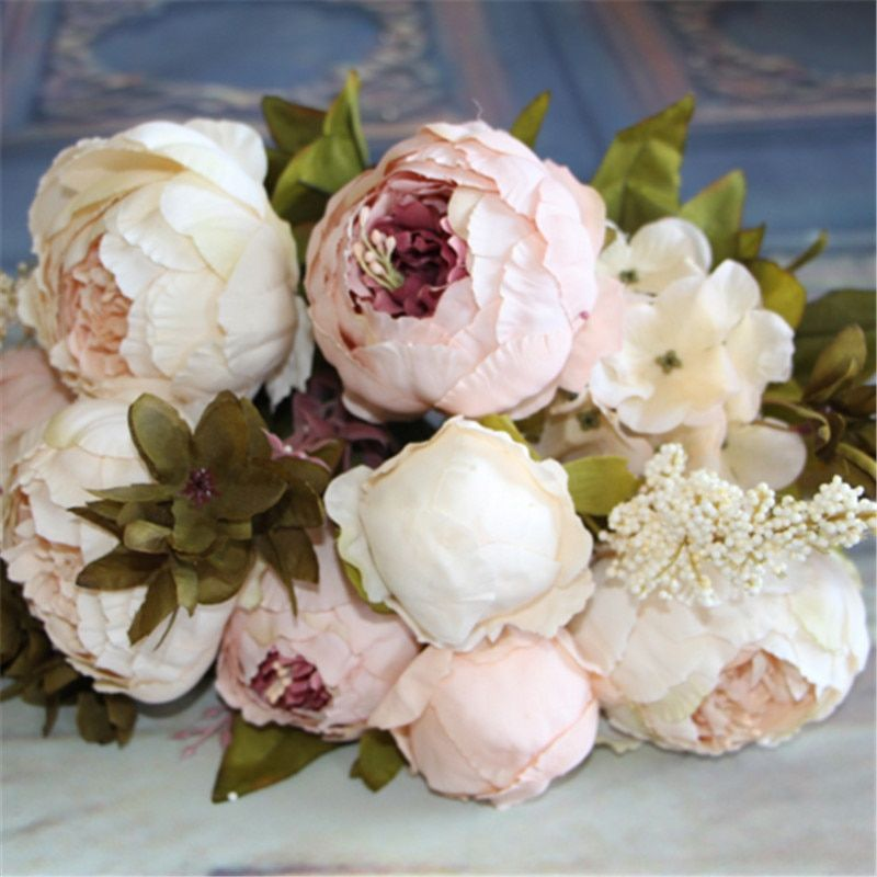 Artificial Flowers Silk flower European Fall Vivid Peony Fake Leaf Wedding Home Party Decoration