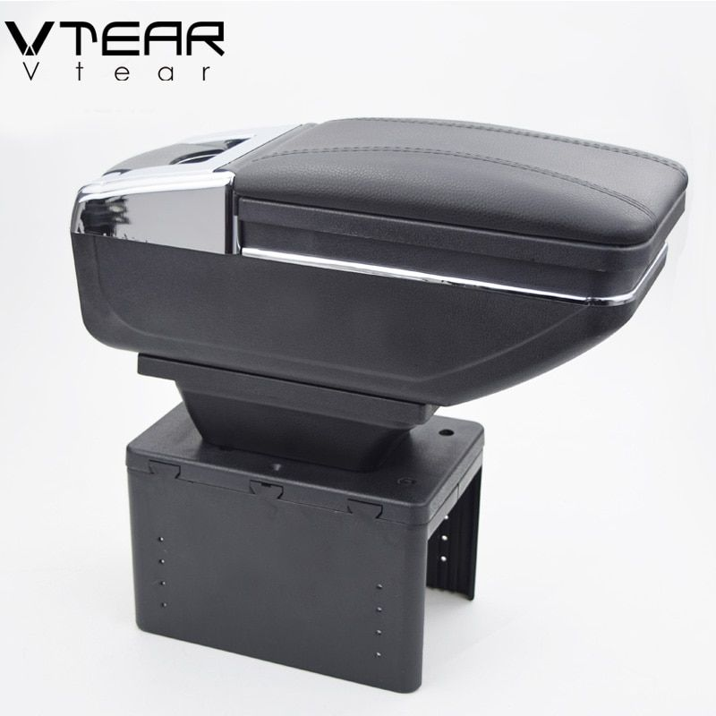 Vtear universal car central container armrest box PU Leather auto car-styling central Store content box cup holder accessories