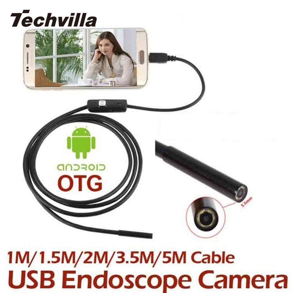 Techvilla 1 Mt/1,5 Mt/2 Mt/3,5 Mt/5 Mt 7 MM Mini Endoskop Wasserdicht Android Endoskop USB Endoskop LED Tube Snake Micro Kamera
