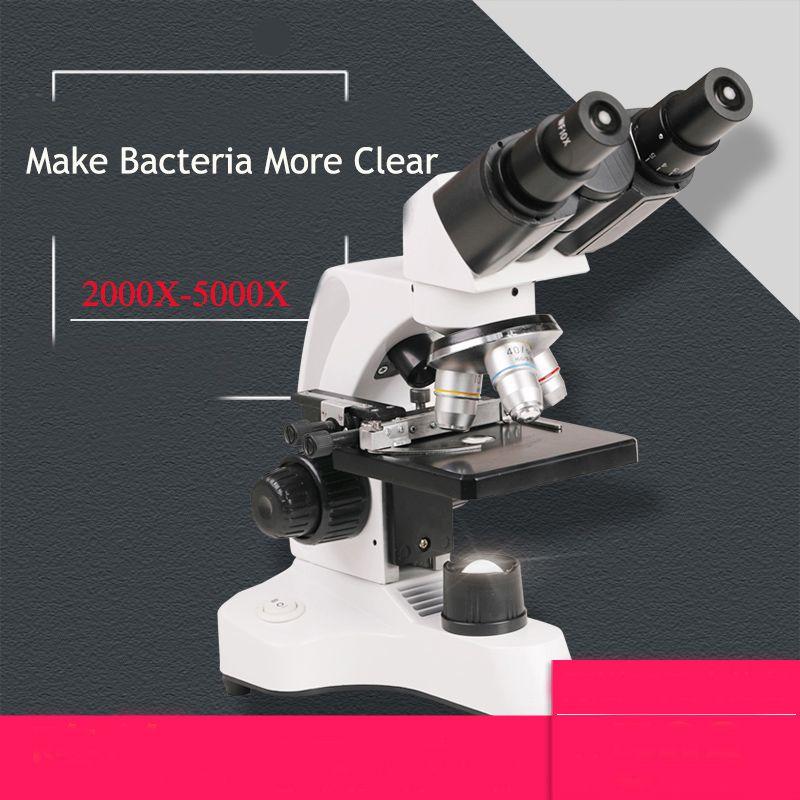 Microscope 40X-2000X/5000X Binocular Biological Compound Microscopes WF 10X/25X Double LED Lab with Mechanical Stage,Storage Box