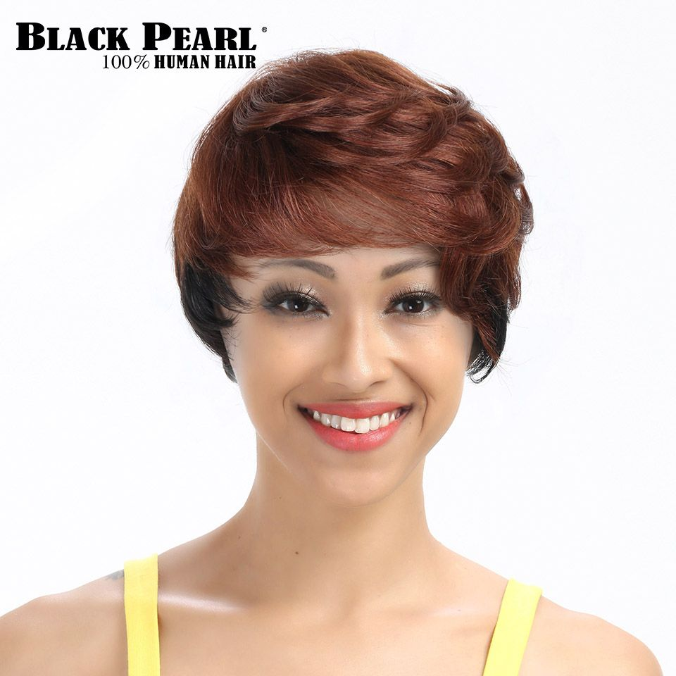 Black Pearl Short Wavy Wig For Black Women Short Brown Human Hair Wig Short Pixie Cut Hair Style 33# Cheap Party Full Wig