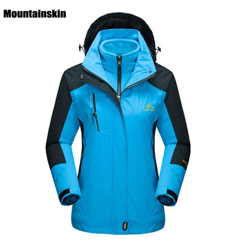 Mountainskin de Femmes D'hiver 2 pièces Softshell Polaire Vestes Sports de Plein Air Étanche Thermique Randonnée Ski Femme Manteaux RW015