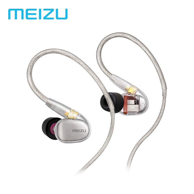 Meizu Live Earphones Quad-Driver Knowles Balanced Armature HiFi Wired Earphone In-Ear Earbuds 3.5mm Headset Original Package