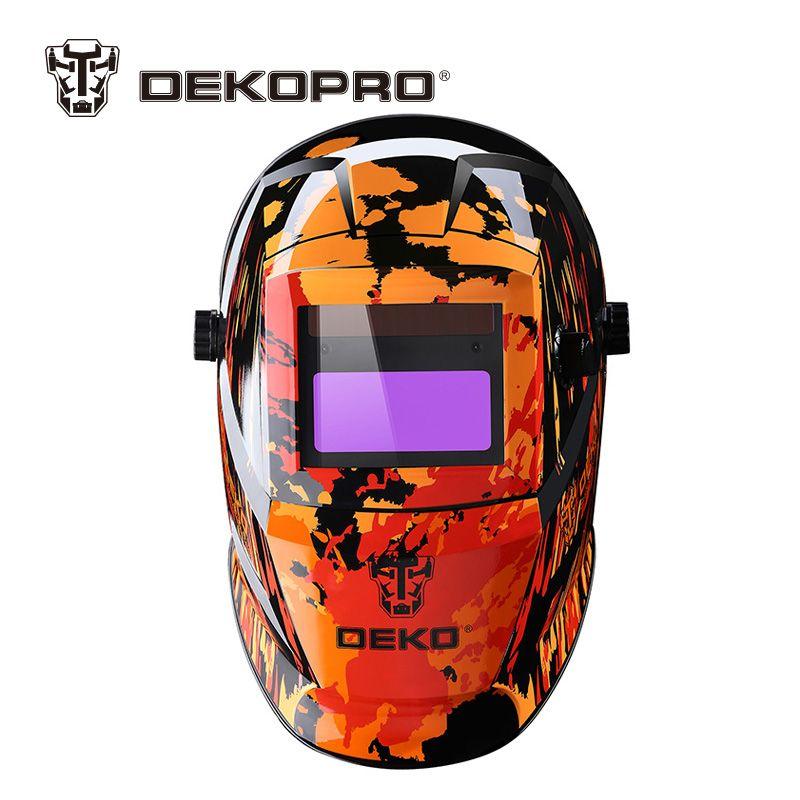 DEKOPRO Orange Fire Solar Auto Darkening MIG MMA Electric Welding Mask Helmet Welding Lens for Welding Machine or Plasma Cutter