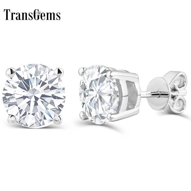 Transgems 10K post 1ctw 5MM HI color Platinum Plated Silver+Lab Created moissanite Stud Earrings For Women push back