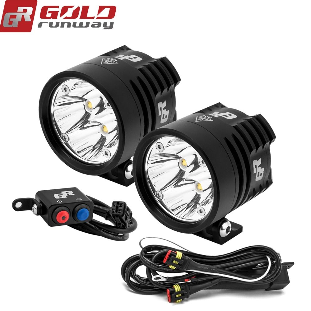 2PCS GOLDRUNWAY GR EXP4 3000lm Headlight Driving Fog Spotlight Assist Lamp For Motorbike Moto with wiring harness switch