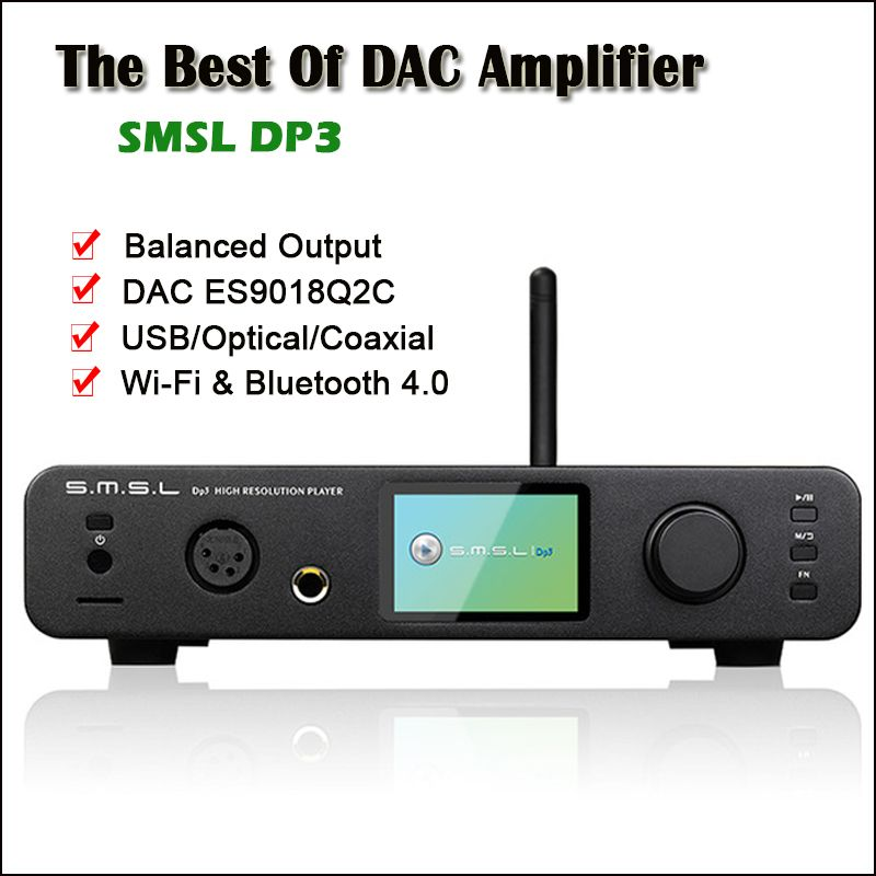 SMSL DP3 USB DAC Bluetooth Amplifier Audio Decoder ES9018Q2C Hifi Bluetooth Dac Audio Amplifier Balanced DSD Digital Player Amp