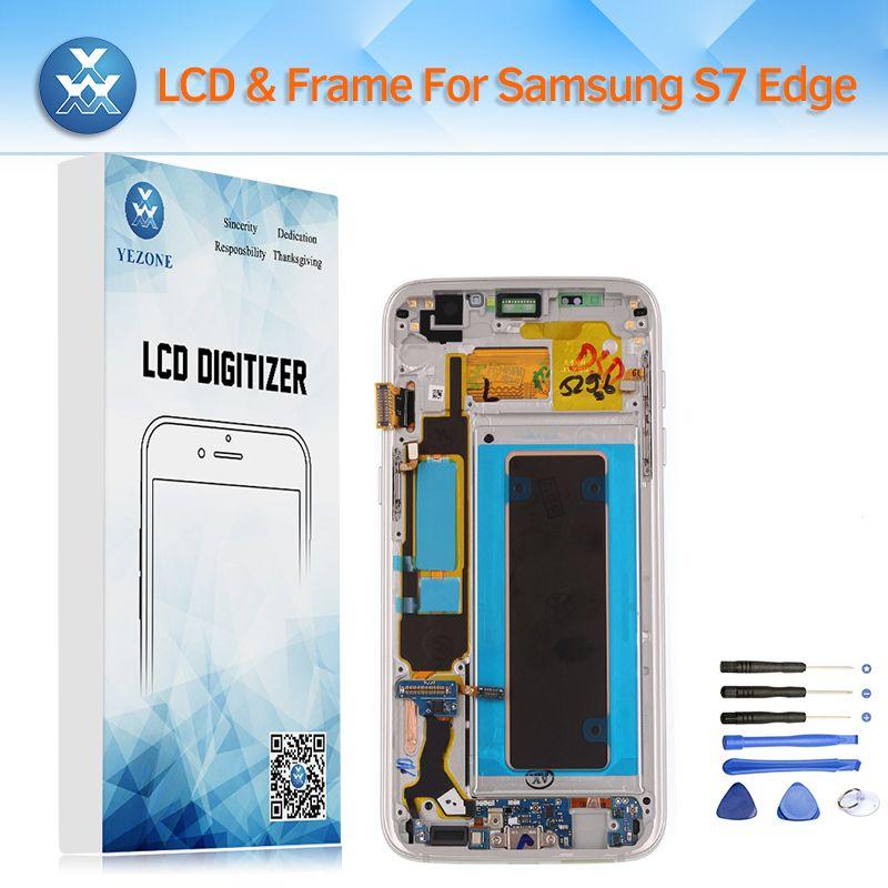 Super AMOLED LCD Display für Samsung Galaxy S7 Rand G935 Lcd-bildschirm Touch Digitizer Rahmen für G935A G935F G935V G935P G935T + Werkzeug