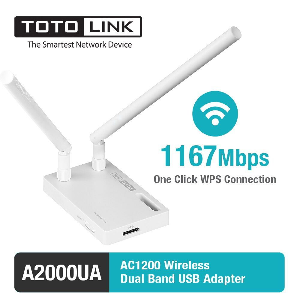 TOTOLINK A2000UA 11AC 2.4G 300Mbps + 5.8G 867Mbps Dual Band USB WiFi Adapter with External Antennas