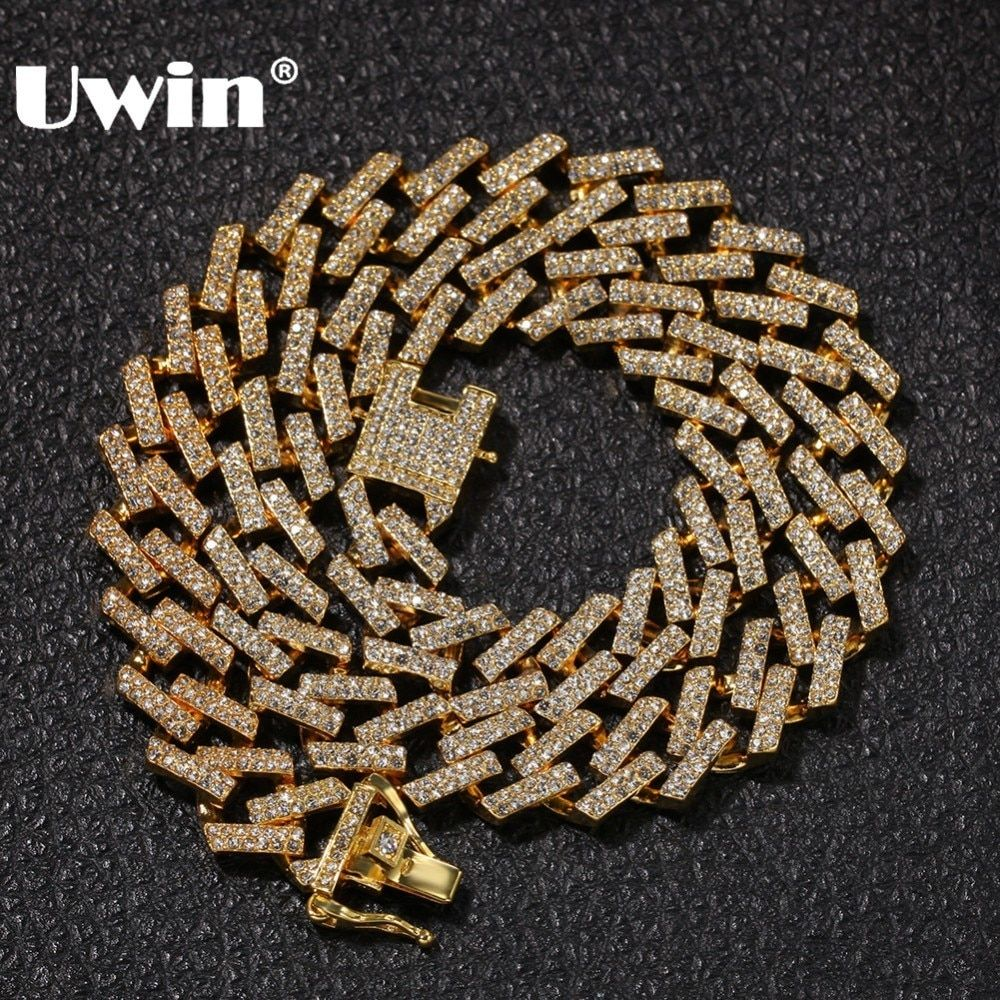 UWIN Drop Shipping Fashion Iced Prong Cuban Link Chains Necklaces 15mm Mutil-Colored Blue/Black Rhinestones Hiphop Jewelry Mens