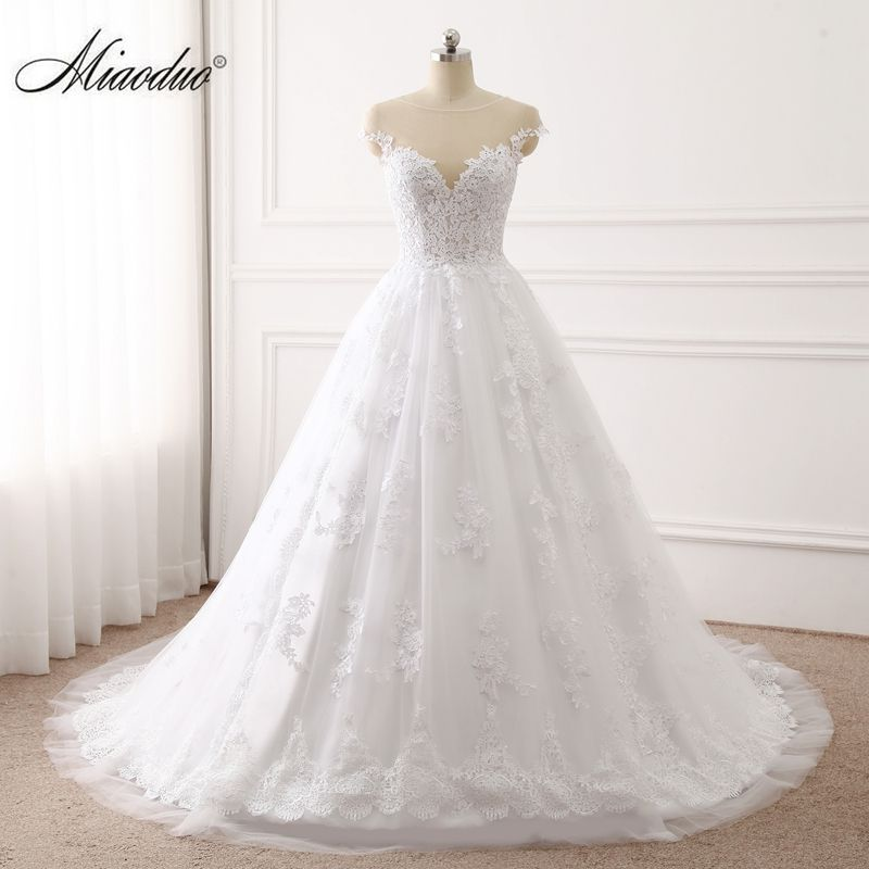 Miaoduo 2017 Sweetheart Ball Gown Wedding Dresses Lace Appliques Bridal Gowns Vestido De Novias Princess Luxury Cathedral Train