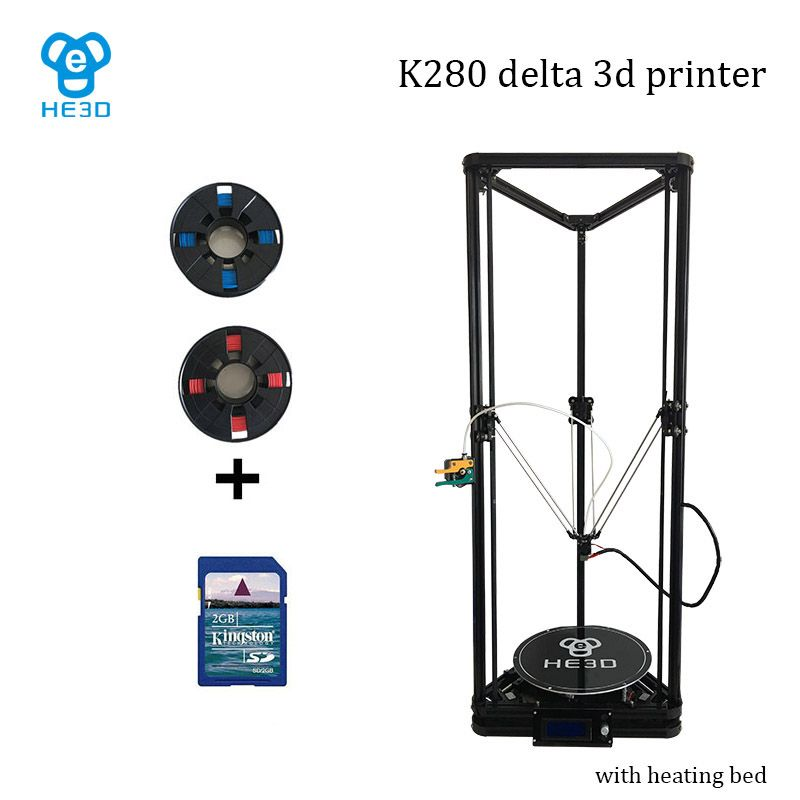 High precision auto leveling large printing size reprap delta diy 3d printer kit K280 , with heat bed support muti materials
