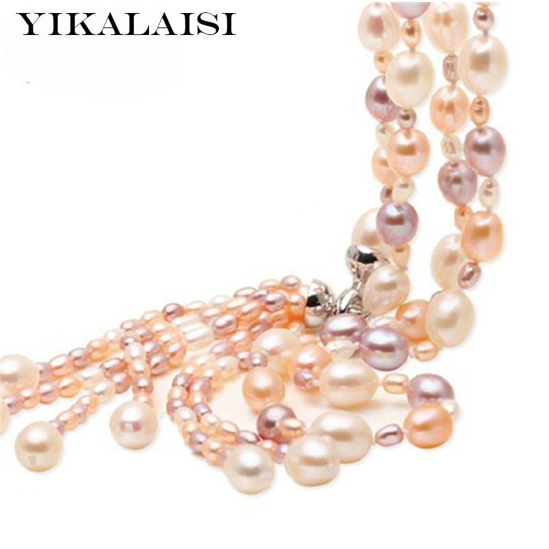 YIKALAISI 925 sterling silver jewelry Fashion Long Multilayer Pearl Necklace Freshwater Pearl Tassel Pearl jewelry For Women