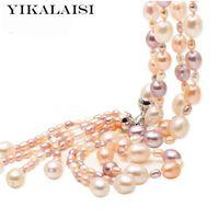 Yikalaisi 925 joyería de plata esterlina moda de múltiples capas collar de perlas de agua dulce de la perla borla perla joyas para las mujeres