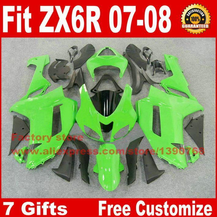 Vollständige verkleidung kit für Kawasaki ZX6R 2007 2008 motorrad verkleidungen ZX-6R 07 08 Ninja 636 grün schwarz karosserie set AV43