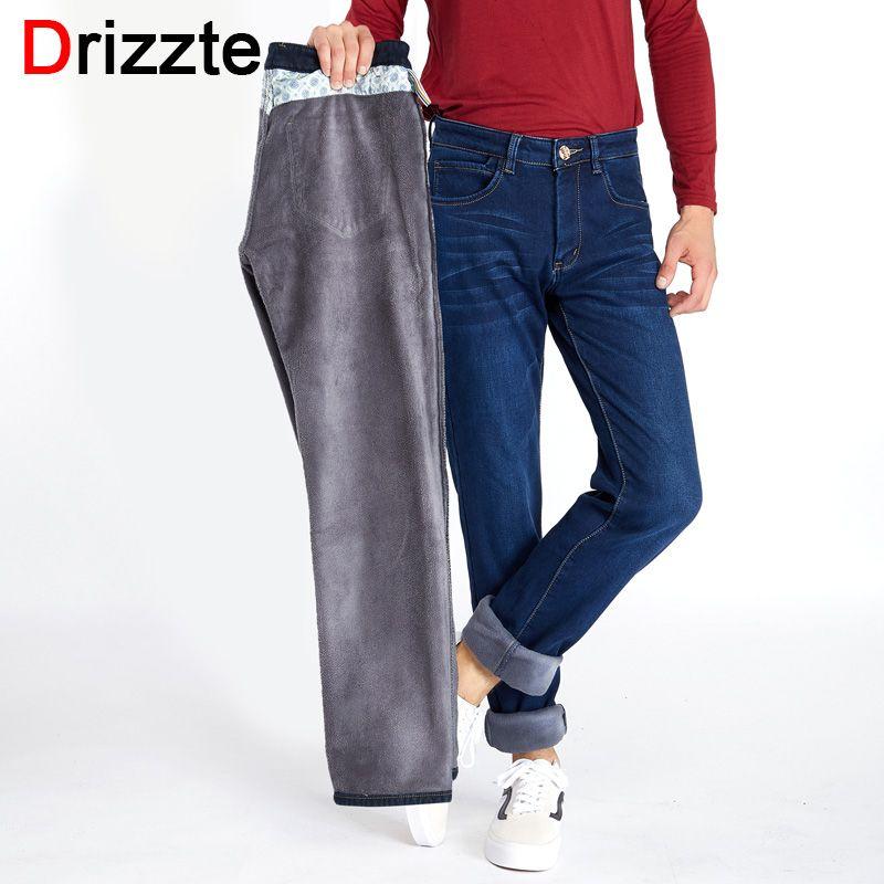 Drizzte Для мужчин S зима Джинсы с флисом фланелевой подкладке стрейч джинсы Slim Fit Мотобрюки Брюки для девочек 33 34 35 36 38 40 42 для Мужчин's Джинсы для...