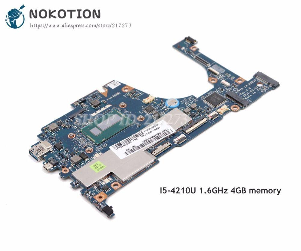 NOKOTION For Lenovo yoga 2 13 Laptop Motherboard 13.3 inch SR1EF i5-4210U 1.6GHz 4GB memory ZIVY0 LA-A921P Full tested