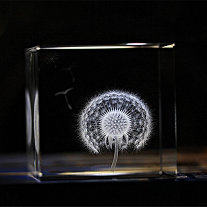6 cm Cristal Pissenlit Cube Artisanat 3D Laser Gravé Verre Miniatures Cadeaux Ornements de Décoration Cadeaux Spéciaux