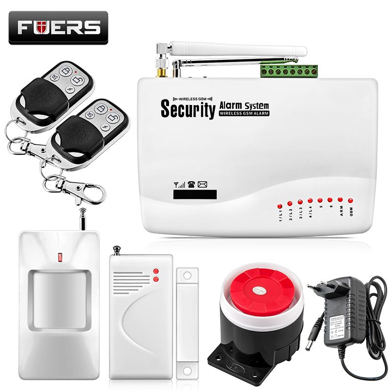 Fuers Wireless/Wired GSM Voice Home Security Burglar Android IOS Alarm System Auto Dialing Dialer SMS <font><b>Call</b></font> Remote Control Alarm