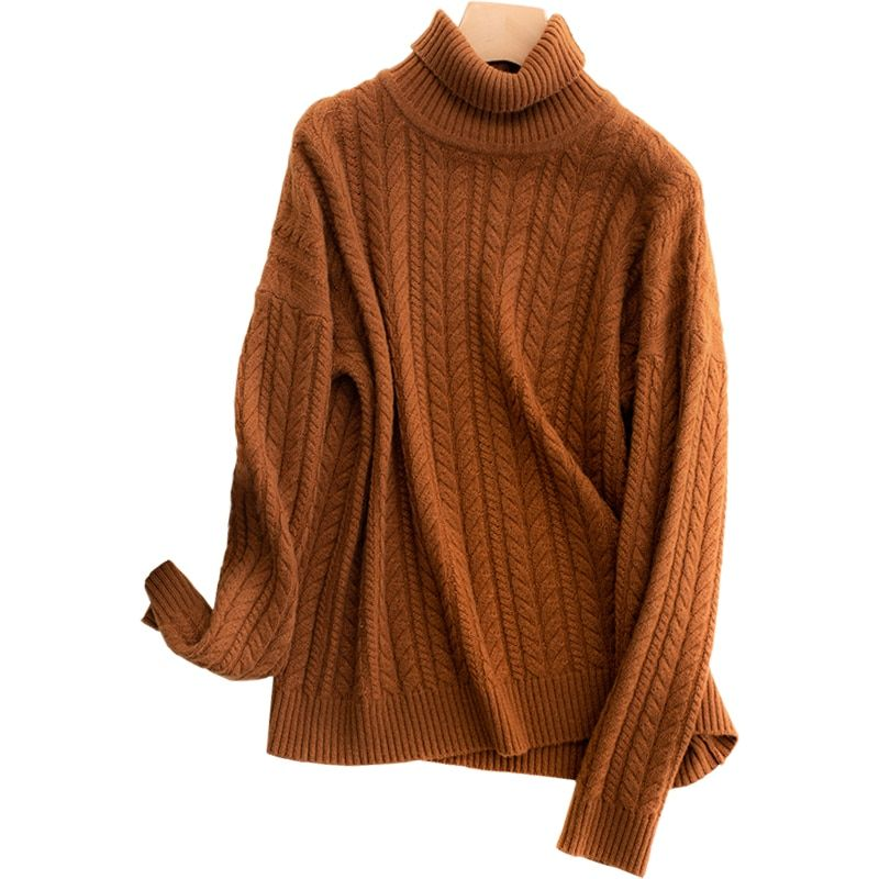 2018 new cashmere sweater women winter high collar twisted sweater thick pullover female solid color knit bottoming pullover