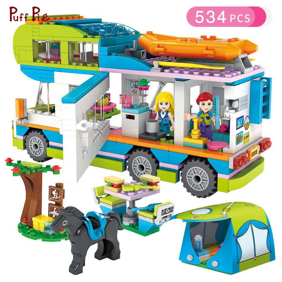 534pcs Girl Series Outing Camper Bus Car Building Blocks Figures Compatible Legoed Friends Bricks Birthday Gift Girls Toys