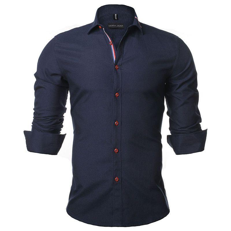 VISADA JAUNA 2019 Nouveaux Hommes Chemise рубашка Couleur Uni Manche Longue décontracté Marque Camisa Sociale Masculina Robe D'affaires 5XL N352