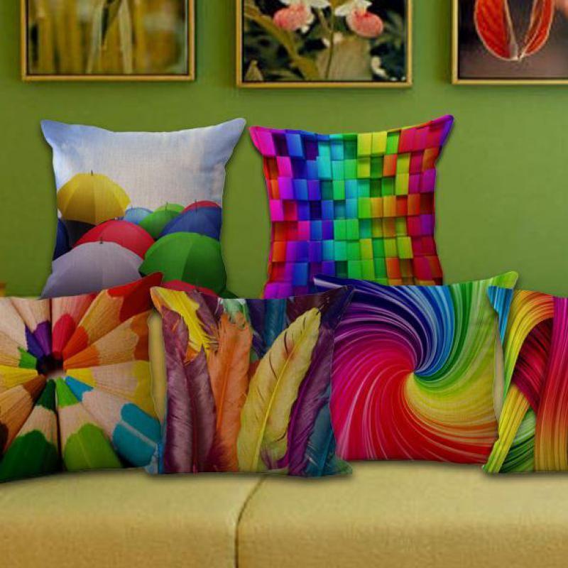 Free Shipping! Color Pencil Umbrella Feather Corrugated Whirlpool Colorful Creative Cushion Linen Cotton Pillow Sofa Cushions