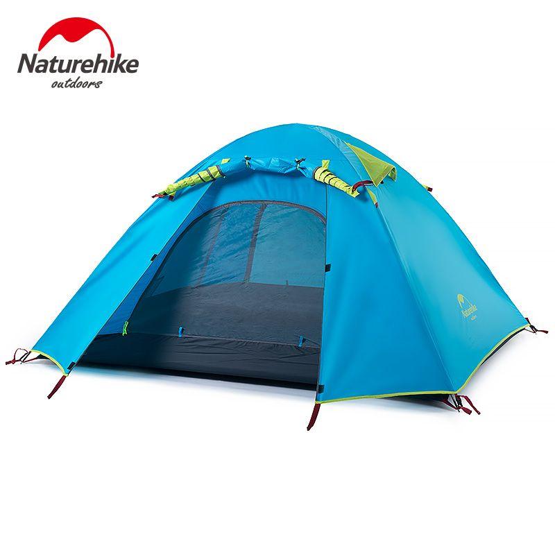 NatureHike 3-4 Person Camping Zelt Neue Angekommen Doppel Schicht Outdoor Camping Wanderung Reise Zelt Aluminium Pole NH Zelte