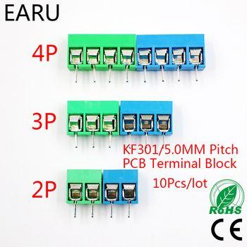 10 Pcs/lot KF301-5.0-2P KF301-3P KF301-4P Pitch 5.0mm Droite Broches 2 P 3 P 4 P Vis PCB Bornier connecteur Bleu Vert