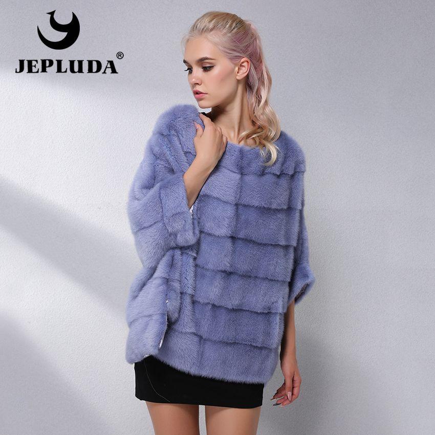 JEPLUDA Casual Natural Real Mink Fur Coat Women Winter Mink Fur Short Cloak Free Size O-Neck Mink Fur Jacket Women Real Fur Coat
