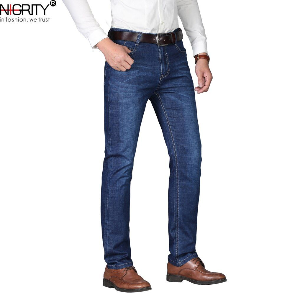 NIGRITY Man jeans 2018 New Fashion business Casual Denim Pants Men Straight cut slight stretch trousers large size 29-40 4 color