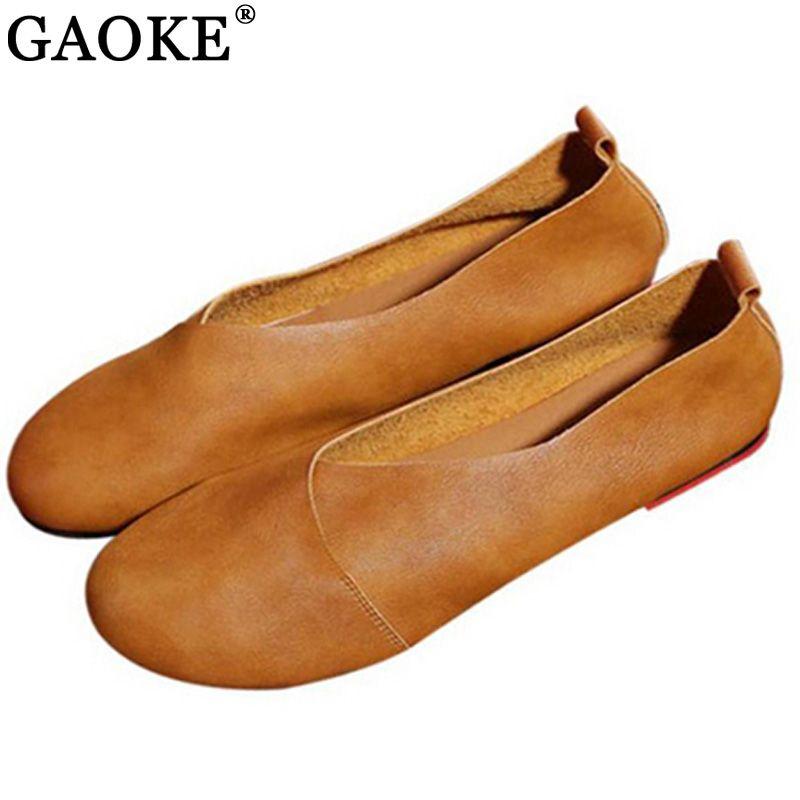 2018 chaussures plates en cuir véritable femme mocassins en cuir cousus à la main en cuir de vachette chaussures de printemps décontractées flexibles femmes appartements femmes chaussures