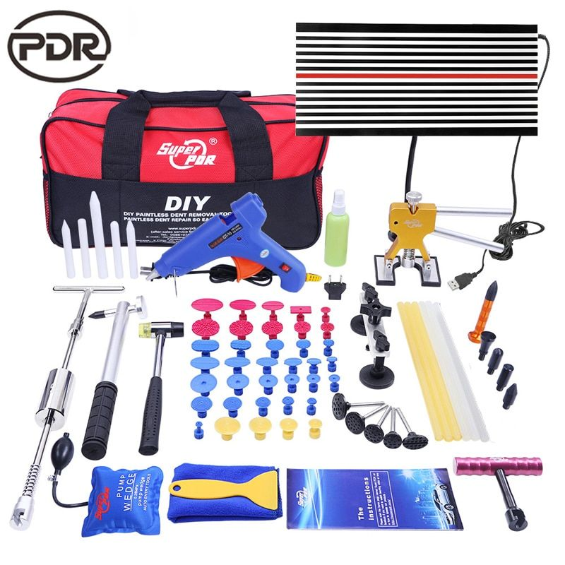 PDR Tools For Dent Removal Paintless Dent Repair Tools LED Lamp Reflector Board Hammer Glue Tabs Fungi Tool Set Kit Ferramentas