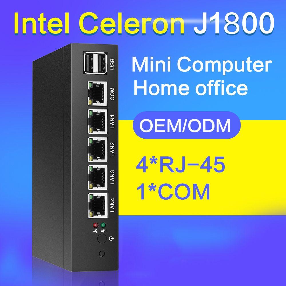 Fanless Mini PC 4 Lan Ethernet NIC Celeron J1800 Dual Core 2.41 GHz Routeur Pfsense Firewall Serveur Windows 10 TV Box VGA 4 RJ45