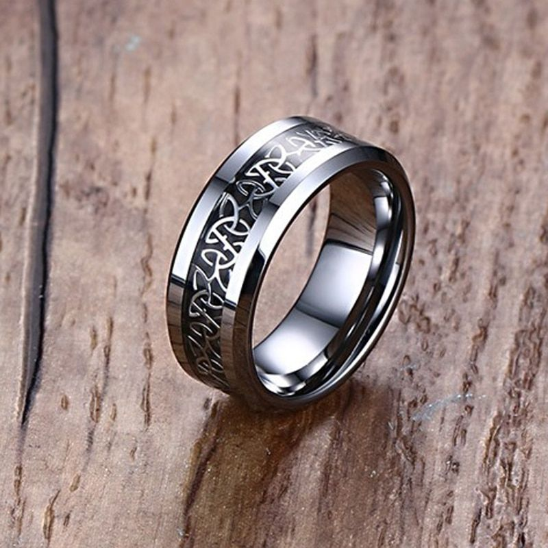 Mprainbow Wedding Rings <font><b>Carbon</b></font> Fiber Inlaid Celtics Knot Engagement Band Ring For Him and Her Fashion Lovers Jewelry 6MM/8MM