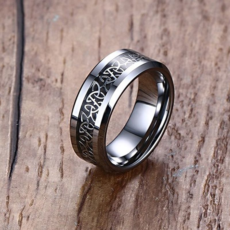 Mprainbow Wedding <font><b>Rings</b></font> Carbon Fiber Inlaid Celtics Knot Engagement Band <font><b>Ring</b></font> For Him and Her Fashion Lovers Jewelry 6MM/8MM