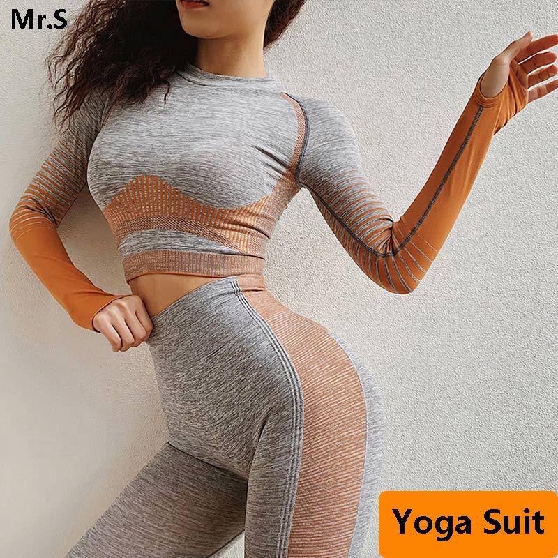 2 Pcs Nahtlose Workout Kleidung Für Frauen Lange Hülse Yoga Set Crop Top Sport Anzug Workout Sportswear Gym Fitness Outfit kleidung
